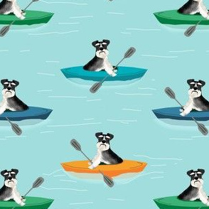 schnauzer black and white kayak sport dog breed fabric with red