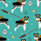 schnauzer black and white wizarding witch wizard dog breed fabric teal