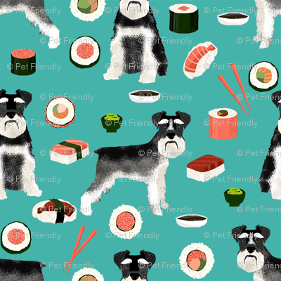 schnauzer black and white sushi food dog breed fabric teal