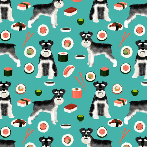 schnauzer black and white sushi food dog breed fabric teal fabric by petfriendly on Spoonflower - custom fabric
