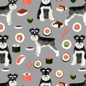 schnauzer black and white sushi food dog breed fabric grey