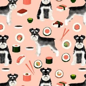 schnauzer black and white sushi food dog breed fabric pink