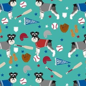 schnauzer black and white baseball sports dog breed fabric teal