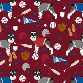 schnauzer black and white baseball sports dog breed fabric ruby