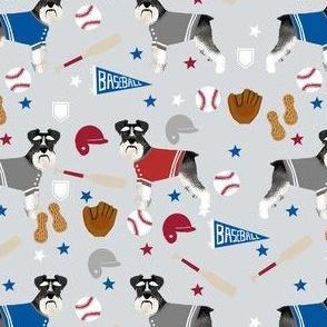 schnauzer black and white baseball sports dog breed fabric grey