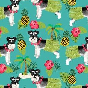 schnauzer black and white hula hawaiian dog breed fabric green