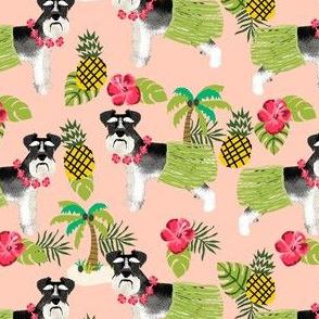 schnauzer black and white hula hawaiian dog breed fabric pink