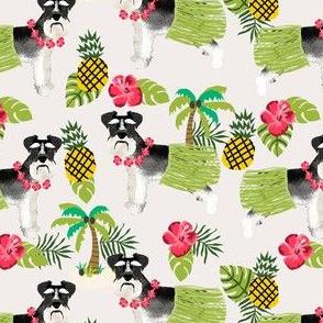 schnauzer black and white hula hawaiian dog breed fabric tan