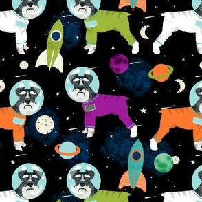 schnauzer black and white space astronaut dog fabric