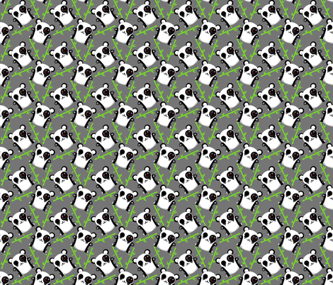 Cute panda grey fabric by victoriapittman on Spoonflower - custom fabric