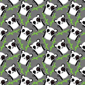 Cute panda grey