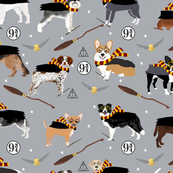 dogs magical wizarding witch wizard fabric grey
