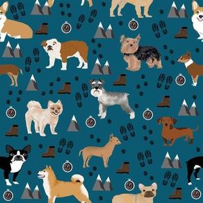 dogs hiking outdoors dog breed fabric dark blue