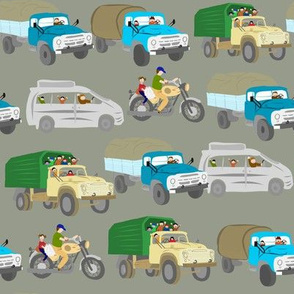 Vehicles, russian trucks, motorcycle