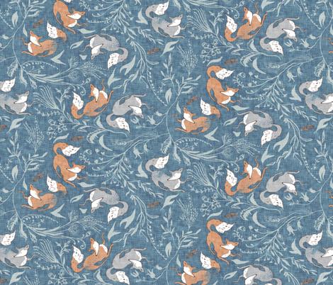 Deluna Foxen (denim) MED  fabric by nouveau_bohemian on Spoonflower - custom fabric