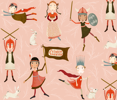 Princess Awesome fabric by katherine_quinn on Spoonflower - custom fabric