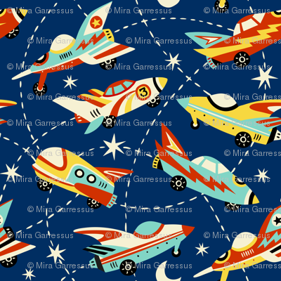 vintage space cars - dark blue