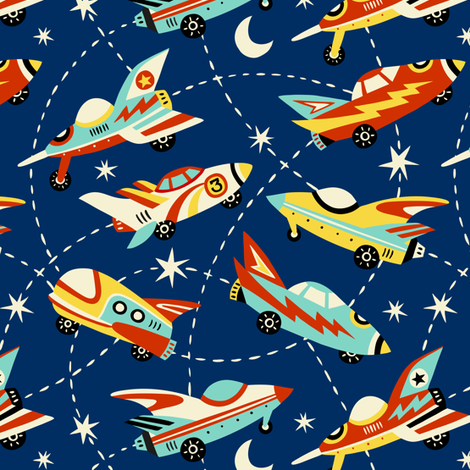 vintage space cars - dark blue fabric by mirabelleprint on Spoonflower - custom fabric