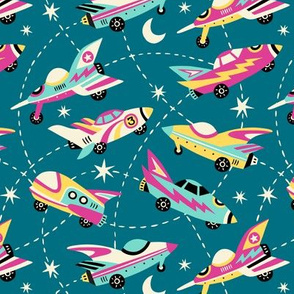 Vintage space cars - teal