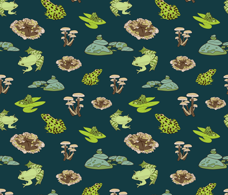 Green Frogs in the Forest fabric by evy_v_design on Spoonflower - custom fabric