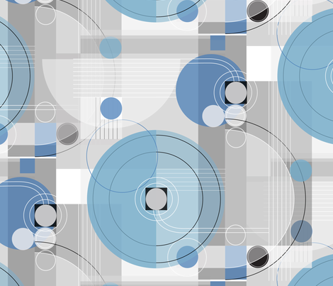 Bauhaus BabyBlue Symphony _Lg fabric by robinpickens on Spoonflower - custom fabric
