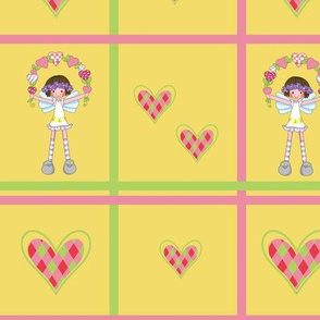Yellow fairy girl and hearts