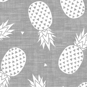 Pineapples White - Gray Texture