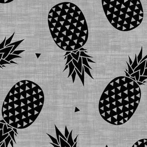 Pineapples - Gray Texture Black