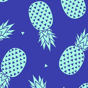 Pineapples - Mint Blue Background