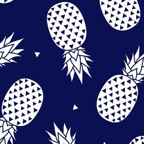 Pineapples - Navy background
