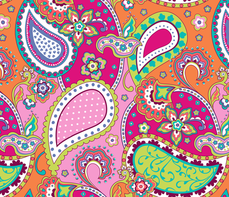 Paisley Pink Orange fabric by delinda_graphic_studio on Spoonflower - custom fabric