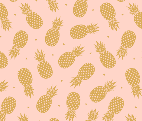Pineapples Gold Blush fabric by kimsa on Spoonflower - custom fabric