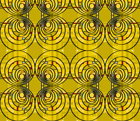 circles triangles squares yellow mustard  fabric by palusalu on Spoonflower - custom fabric