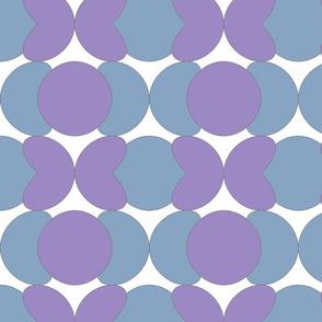 Eighties Pacman Purple Blue Round Shapes Pattern