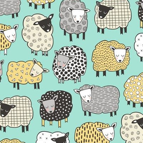Sheep Geometric Patterned Black & White Grey  Yellow on Mint Green