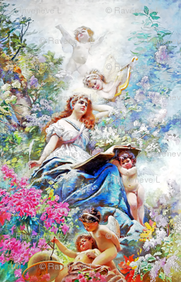 cherubs angels cupid inspired children boys wings fuschia pink white flowers floral victorian  beautiful lady nymphs woman  gardens harps globes compass writing feather quills leaf leaves plants shabby chic beauty mythology maidens romantic egl elegant go