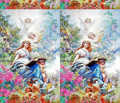 cherubs angels cupid inspired children boys wings fuschia pink white flowers floral victorian  beautiful lady nymphs woman  gardens harps globes compass writing feather quills leaf leaves plants shabby chic beauty mythology maidens romantic egl elegant go fabric by raveneve on Spoonflower - custom fabric