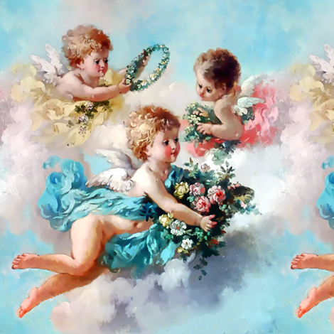 cherubs angels cupid inspired children boys wings sky clouds seamless flowers floral roses wreaths crowns bouquet victorian pink blue yellow shabby chic romantic egl elegant gothic lolita  vintage antique baroque fabric by raveneve on Spoonflower - custom fabric