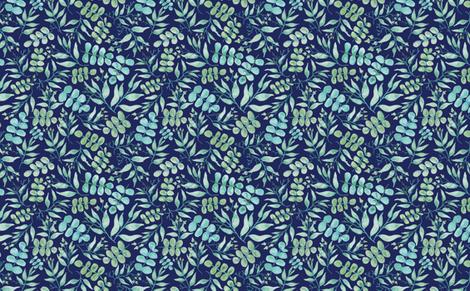 Sprigs of Eucalyptus Navy fabric by tinyandtenacious on Spoonflower - custom fabric