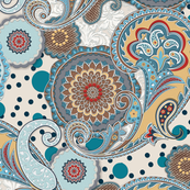 Paisley Mandala aqua cream teal red L