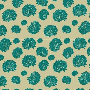 Teal and Tan Flower Pattern