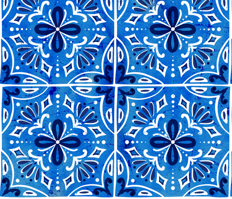 Sevilla - Spanish Tiles Blue Large Scale fabric by heatherdutton on Spoonflower - custom fabric