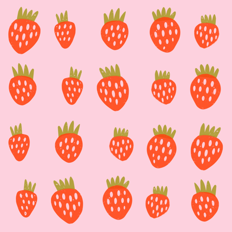 Summer strawberries fabric by anda on Spoonflower - custom fabric