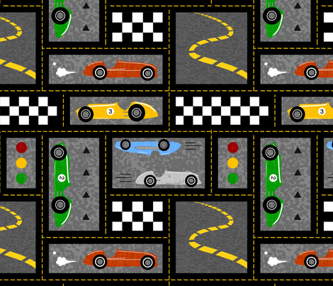 Vintage Racing - Bright fabric by sugarpinedesign on Spoonflower - custom fabric