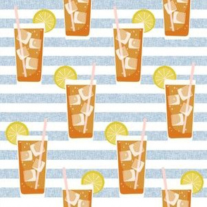 iced tea bbq summer party southern style fabric blue stripe