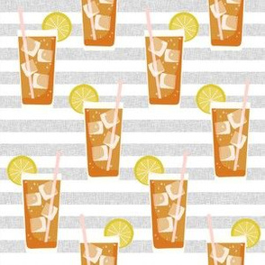 iced tea bbq summer party southern style fabric grey stripe