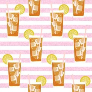 iced tea bbq summer party southern style fabric pink stripe