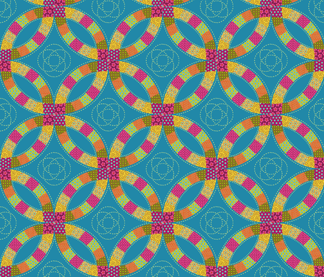 Double Wedding Ring Quilt fabric by willowbirdstudio on Spoonflower - custom fabric