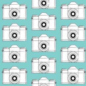 vintage cameras on teal