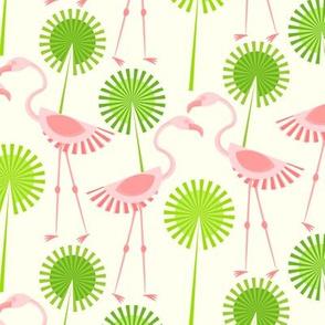 Flamingos and Polka Dot Palms
